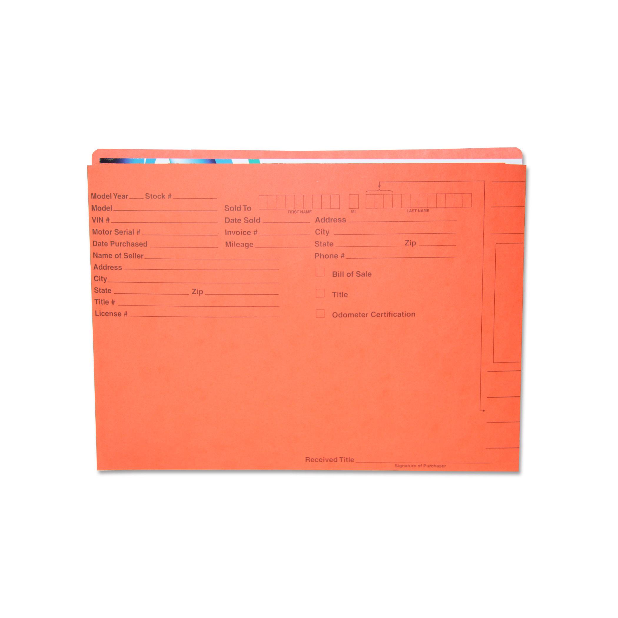 automotive vehicle deal file jacket folder 11pt orange with black