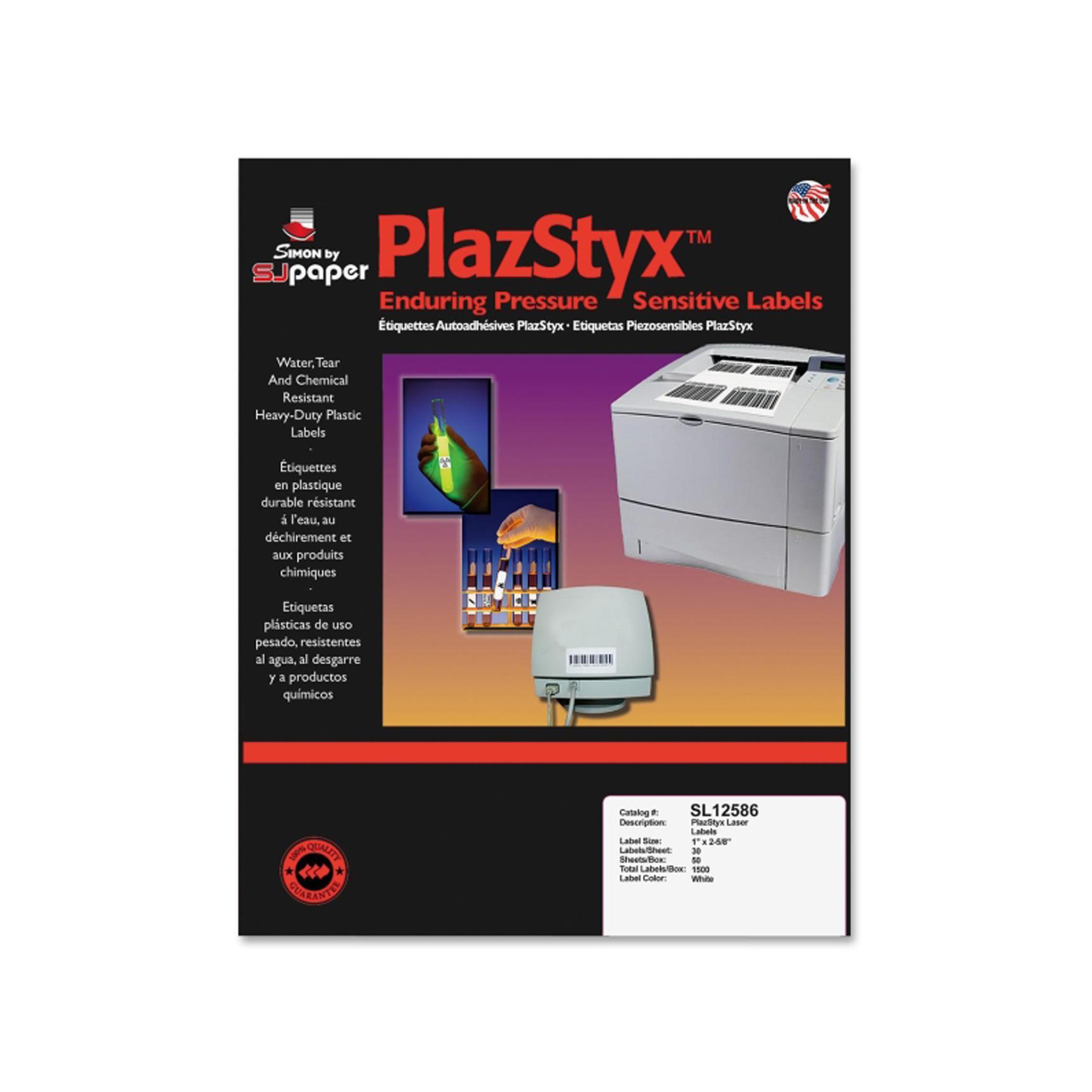SJ Paper PlazStyx Pressure Sensitive Laser Printer Labels Self Adhesive White 15k Box